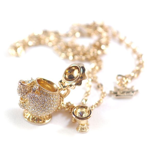 Disney Couture Beauty & The Beast Mrs. Potts Pave Necklace. LOVE!