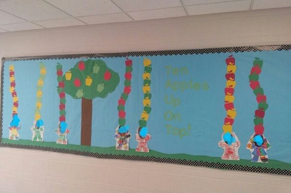 """This is the bulletin board I created for the month of September.  It's an apple theme as well as literacy...it corresponds with the book """"Ten Apples Up On Top"""".  I had the Pre-k students count out ten apples and they also created an AB pattern.  I put their pictures on a body outline that they colored.  They loved it!"""