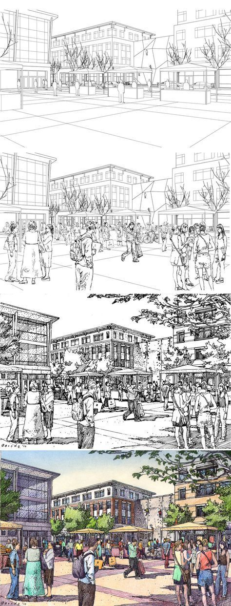 Rochester, NY.  URS Corporation.  Drawing Process.  Wireframe, Wireframe + Entourage, Inked Drawing, Color.  Rendering by Bruce Bondy, Bondy Studio. If you're a user experience professional, listen to The UX Blog Podcast on iTunes.