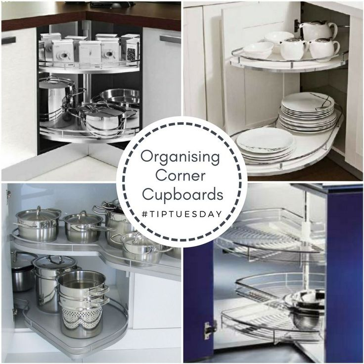 - Tricky Corner Units Corner cabinets have to be one of the trickiest areas in a kitchen to figure out. They generally end up having a lot of space, but they aren't very easy to access since the opening is narrow and the cabinet is deep. Luckily, there are a whole host of solutions that can help you make the corner cabinet easy to access and organize.