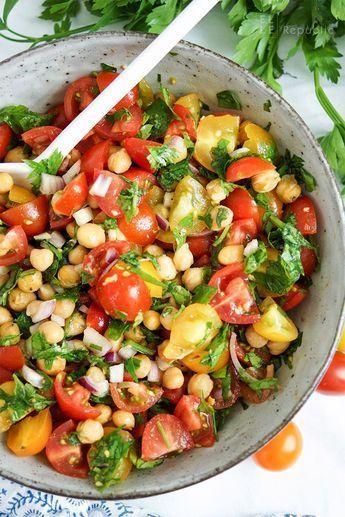 Crunchy chick-pea and tomato salad (vegan + gluten-free)