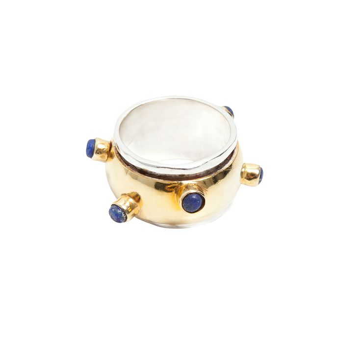 Twist of Fate lapis ring - $150. Thick statement ring with tiny polished Lapis Lazuli spiked stone inlay, crafted in 24k gold plate with contrasting silver plated exterior bands. Lovingly designed in Brisbane by luxe Australian designer jewellery label Angle Diamond Dot. www.savethelastpinker.com.au/shop/twist-fate-lapis-ring/