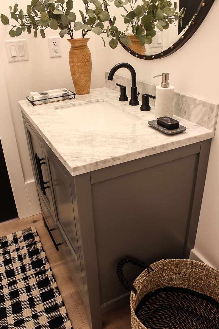 our finished little powder bath with delta bathroom on vanity for bathroom id=15210