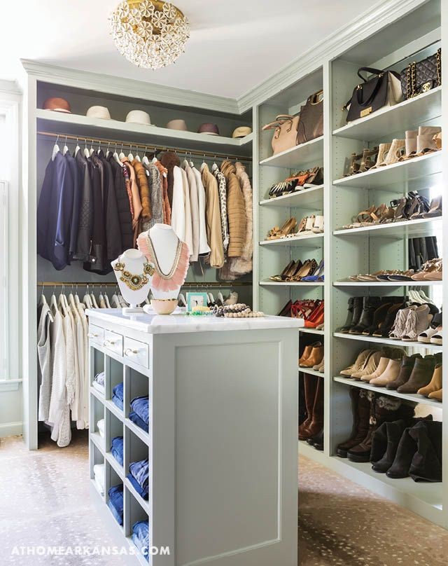 The closet space features custom shelving for storing everything from jewelry to jeans. | Fashionable & Functional | At Home in Arkansas | May 2016| @Krista