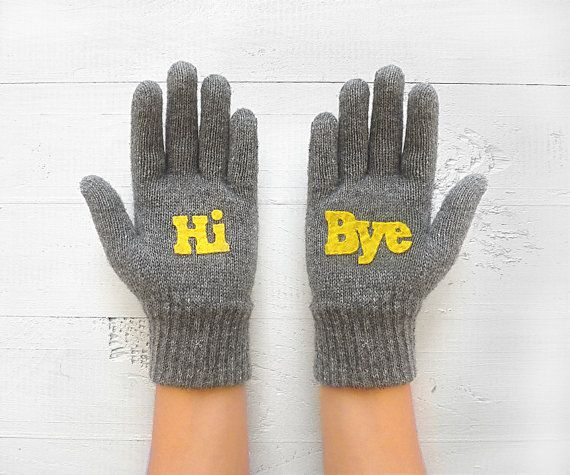 Christmas Gift Hi&Bye Gray Gloves Hello Talking by talkingloves