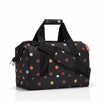 Reisenthel Dots Medium ALLROUNDER M Shoulder Bag: ALLROUNDER M is based on the classic doctor's bag with wide opening and integrated metal brackets and zip fastening.   Thanks to the six inside pockets and long adjustable carrying strap this is a shoulder bag that also has 2 short carrying handles with grip.   Hand luggage size for most airlines