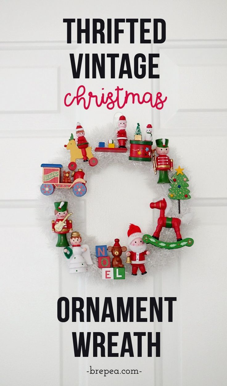A fun way to display vintage and mid century Christmas ornaments for the holidays in a project: a homemade DIY vintage Christmas ornament wreath! This would look great on a front door. #vintagechristmasdecorations #christmas #xmas #retrochristmas #diycrafts #wreathchristmas #ornamentwreath