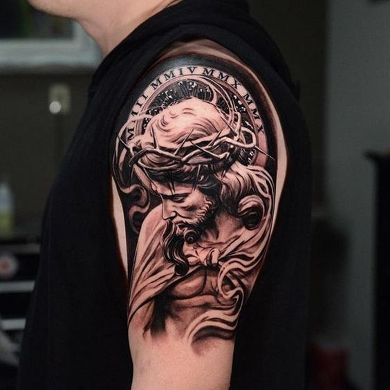 Shoulder Jesus Christ Tattoo: