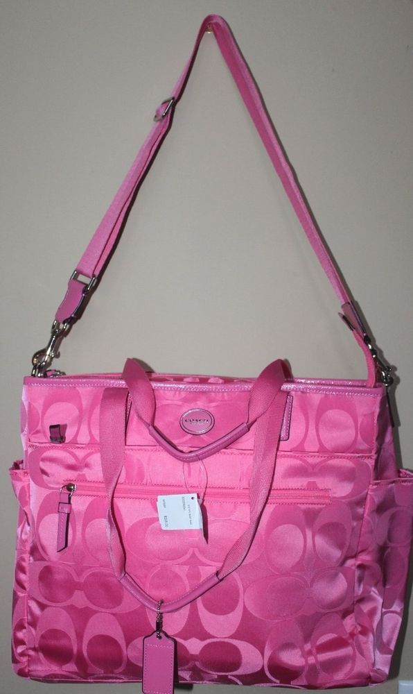 NWT Coach Signature Nylon Hot Pink Baby Diaper Bag Tote ...
