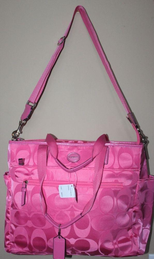 Nwt Coach Signature Nylon Hot Pink Baby Diaper Bag Tote