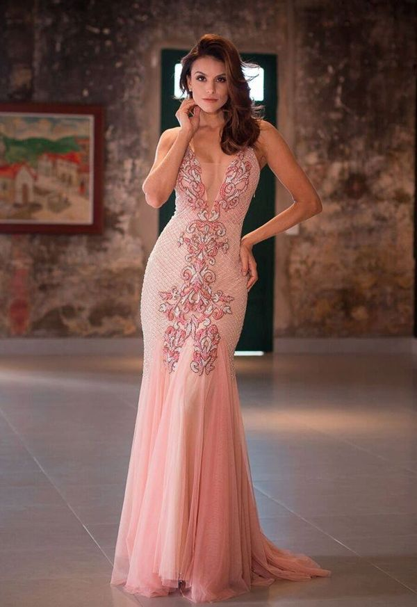 cb3b9b5783 vestido rosa bordado