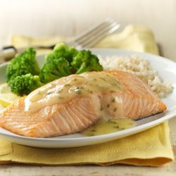 Baked Salmon with Lemon Sauce... A 30 minute baked salmon recipe served with a simple lemon sauce