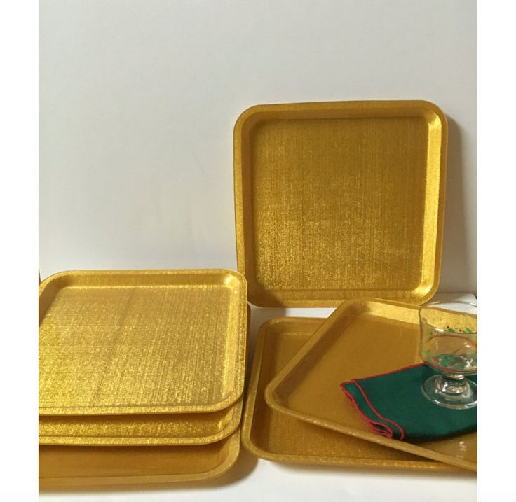 Vintage Plastic Trays, Melamine or Fiberglass type Tray,  6 Square Golden Retro Serving Trays, Tea Party Plastic Tray, Lunch Tray by KyriesTreasureChest on Etsy