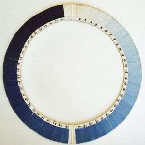 Cyanometer – horace-bénédict de saussure an instrument that measures the blueness of the skyIndigo, Prussian Blue, Sky, Inspiration, Trav'Lin Lights, Saussure Cyanometer, Colors Wheels, Colors Blue, Blue Colors