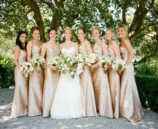 Long georgous champagne bridesmaid dresses