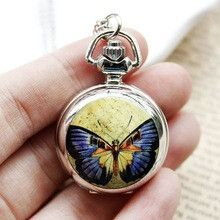 100pcs/lot Manufacturers Selling Fashion Small Enamel Yellow Purple Butterfly Pocket Watch Necklace Relogio Bulova