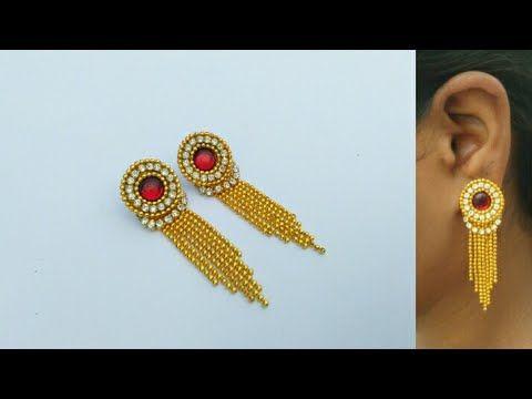How To Make Designer Earrings    Paper Earrings   Jewellery Making   DIY...