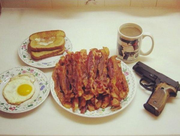 The Most Dangerous Breakfast in AmericaChampion, Real Man, Guns, Ron Swanson, Food, Breakfast, Funny Stuff, Bacon, Chuck Norris