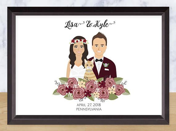 Couple Portrait Custom Drawing Personalized Illustration - save the forest Illustration