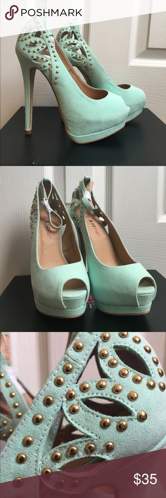 """Mint Pumps Mint with gold accents pumps. I have not worn these. 😞 Open-toed and strapped. Missing one gold piece, but it is in the box if you wanted to glue it back on. 6"""" heels. JustFab Shoes Heels"""