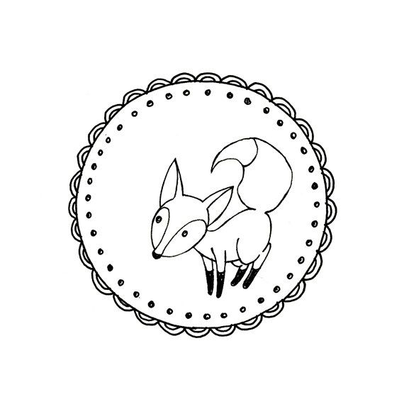 A little fox with a bushy tail, in a scalloped and dotted frame.  woodland creature.