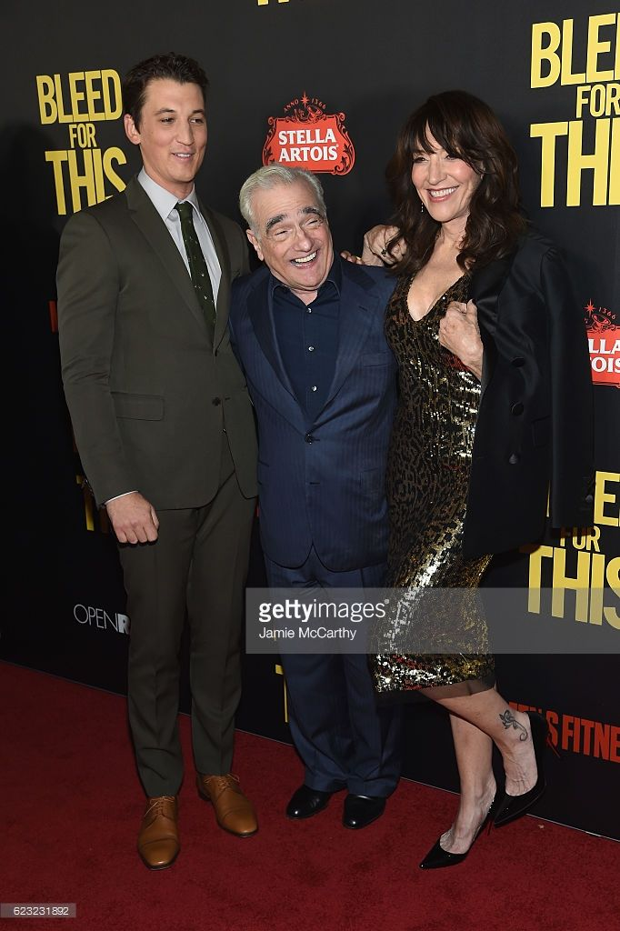 Actor Miles Teller, Executive Producer Martin Scorcese and Actress Katey Sagal attend as Open Road with Men's Fitness host the premiere of 'Bleed For This' at AMC Lincoln Square Theater on November 14, 2016 in New York City.