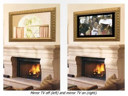 Fireplace mirror that hides tv behind it! You can watch tv above the fireplace, and when you turn it off, it looks just like a mirror. Great space saver!
