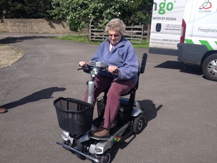 Mrs Camm on her new Flyte mobility scooter