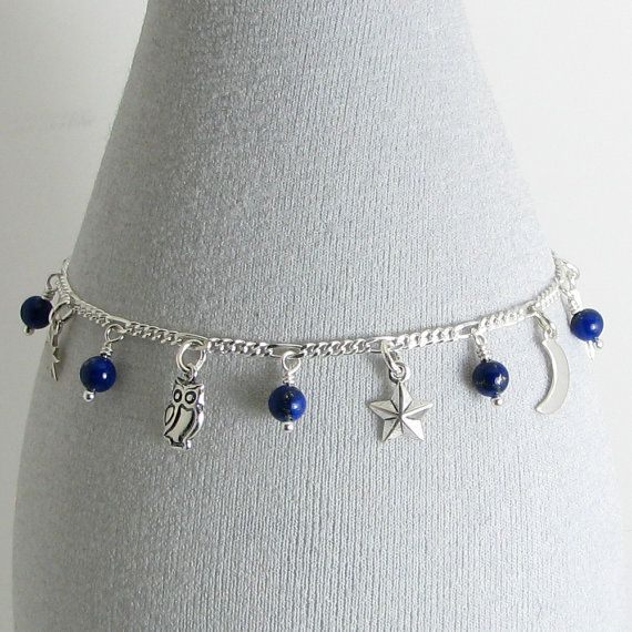Lapis Lazuli Celestial Sterling Silver Charm by BlueSpruceCrafts