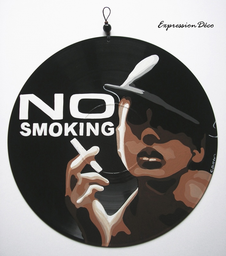 tableau ou plaque de porte en disque vinyle no smoking 28 vinyle r cup pinterest. Black Bedroom Furniture Sets. Home Design Ideas