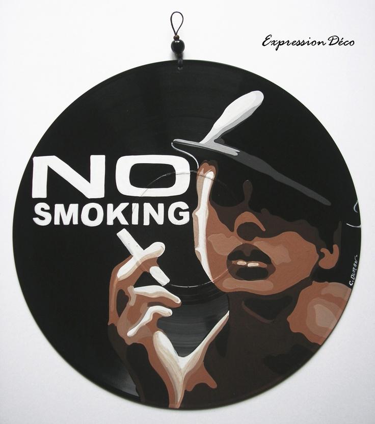 Tableau ou plaque de porte en disque vinyle no smoking 28 diz - Decoration disque vinyle ...