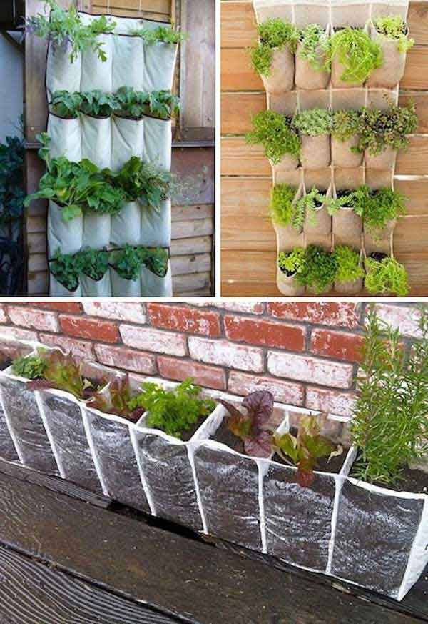 Vertical Vegetables – love the recycle, reuse aspect of these 'containers'.