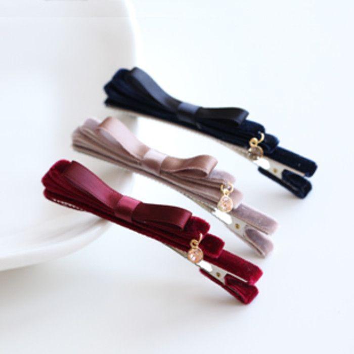 韩国进口 手工系天鹅绒甜美多层蝴蝶结水晶吊坠发夹边夹侧夹