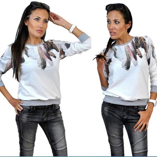 Women Printed Hoodies Casual New Autumn Women Girl Sweatshirt Hoodies Feather Print Loose Long Sleeve Casual Hoodies