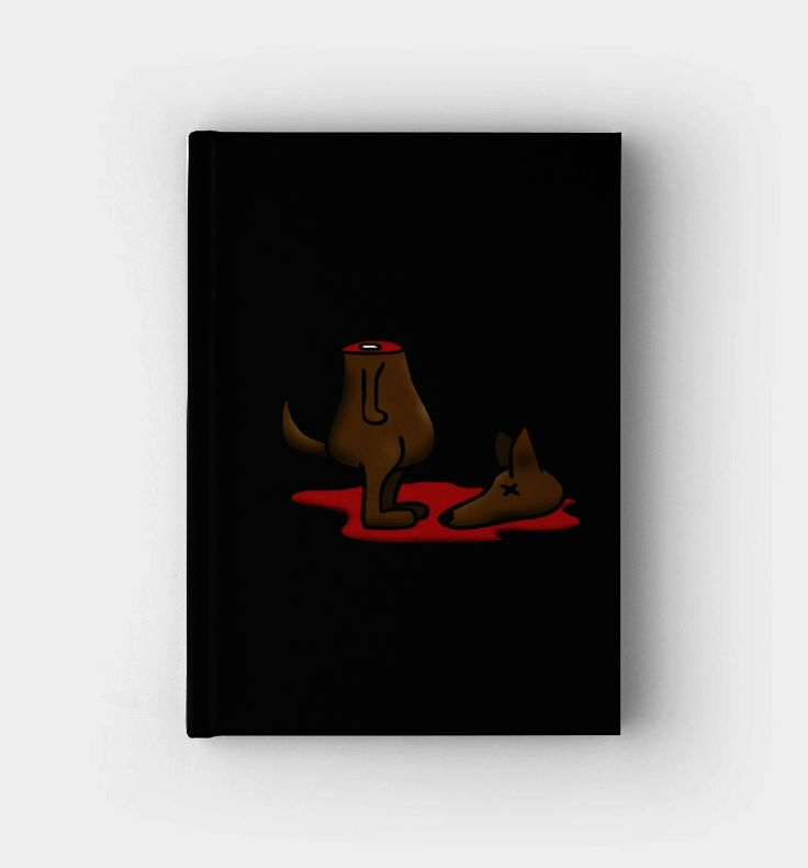 """Write your personal thoughts in this awesome """"Dead Dog (decapitated)"""" fun art design."""