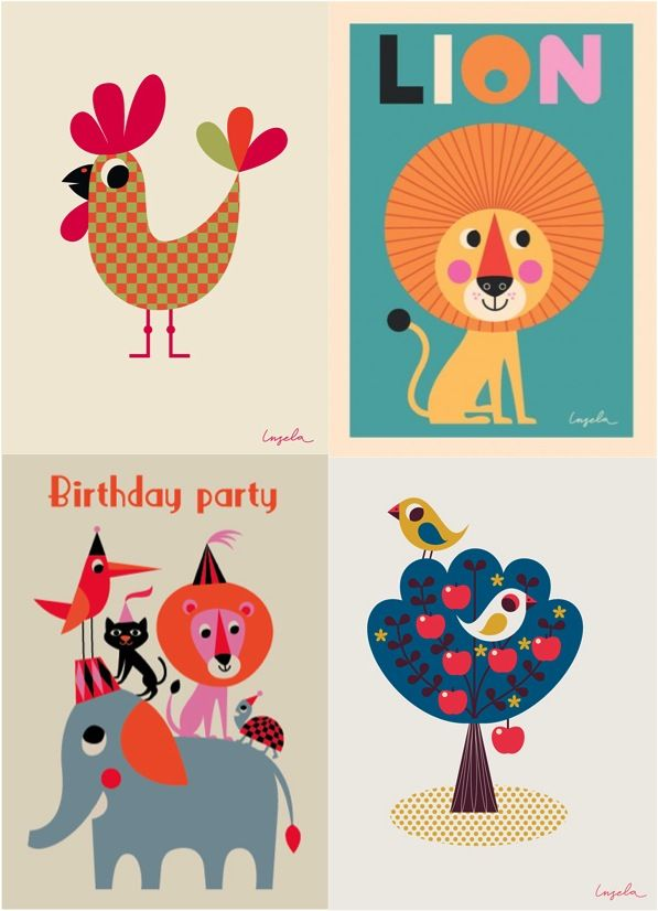 Vintage style kids posters by Ms Arrenhuis-to paint,sell postcard in brighton at sixy seven
