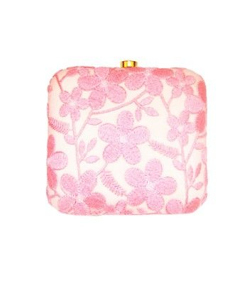 Floral Lace Play Square Box Clutch Pink  #ohnineone