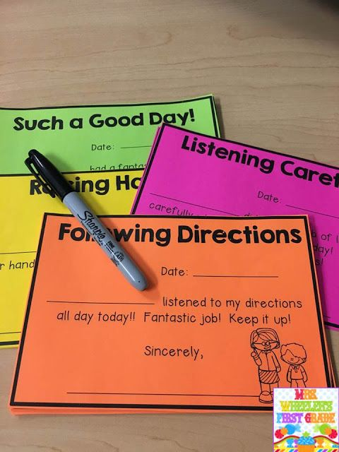 To take the positive notes a step further, add just a few more minutes to the routine.  Select a note that is specific for what you noticed a child do during the day.  Send a specific note home.  Or better yet, have THE CHILD fill out the note!