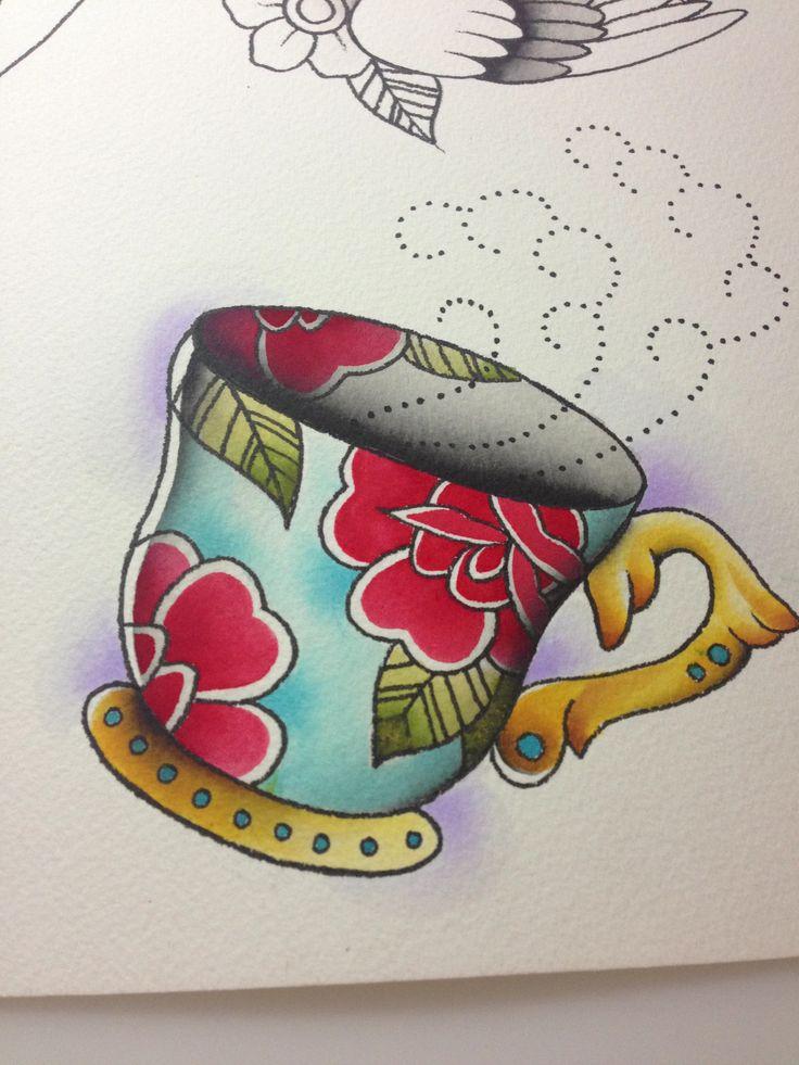 Teacup tattoo flash by Jessamyn Sommerfield