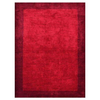 Rugsource Modern Solid Red Hand Knotted Gabbeh Silk Carpet Bordered Indian Oriental Area Rug