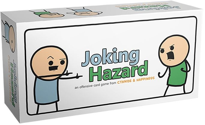 Joking Hazard Comic Game     Joking Hazard is an offensive card game from the creators of the web hit Random Comic Generator.  Using 360 comic cards, three or more players compete to build funny and terrible comics about friendship, violence, sex, and everything in between, forming up to millions of different comic strip ...  Continued at: http://www.walletwrecker.com/joking-hazard-comic-game/
