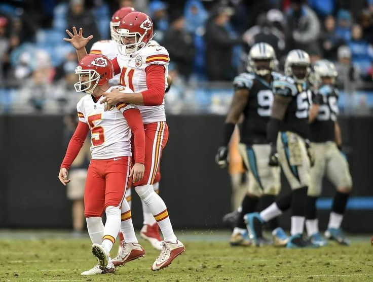 Kansas City Chiefs kicker Cairo Santos (5) celebrated with long snapper James Winchester (41) after Santos' 37-yard fieldgoal with no time remaining to beat the Carolina Panthers, 20-17, on November 13, 2016 at Bank of America Stadium in Charlotte, NC.