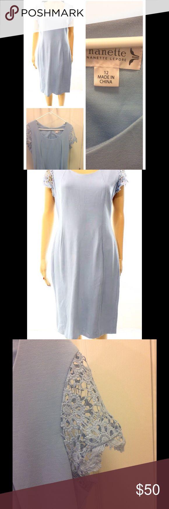 Nanette Lepore Powder Blue crochet sleeves dress Pretty blue stretch sheath dress with crochet cap sleeves. Never worn, new Nanette Lepore Dresses Midi