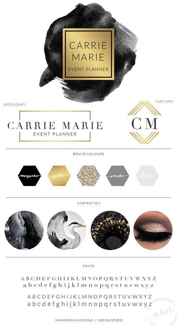 Premade Black Watercolor Logo / Modern Predesigned Photography Logo / Gold Brush Logo/ Feminine Logo Branding Board / Branding Kit /029