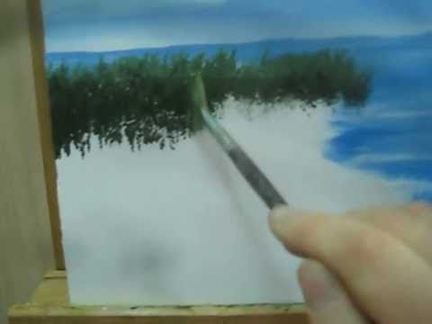 How to paint bushes in a seascape Part 4