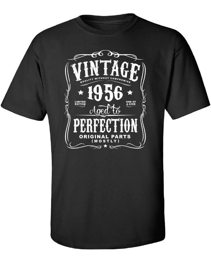 New+Black+For+Men+Tshirt+60th+Birthday+Gift+For+Men+and+Women+-+Vintage+1956+Aged+To+Perfection