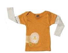 Made with Intertek Eco Certified 100% organic cotton and orange lion linen applique.  Lion wraps around baby's side.    Matching pants and bib are available.  Available in 3M, 6M, and 12M.