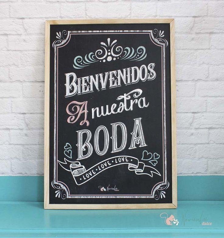 """Pizarra """"bienvenidos a nuestra boda"""". Welcome to our wedding chalkboard."""