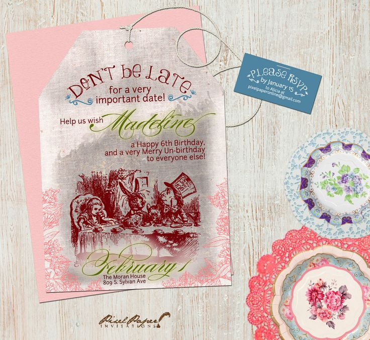 mad hatter teparty invitations pinterest%0A Alice in Wonderland Mad Hatter Tea Party Birthday by pixelpaper