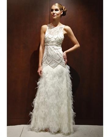Sue Wong, Art Deco- inspired beaded gown featuring a laster-cut petal skirt trimmed with ostrich feathers. #wedding gown